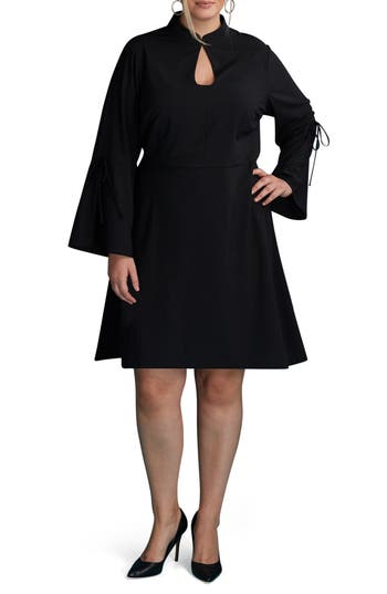 ECI Bell Sleeve A-Line Dress (Plus Size)