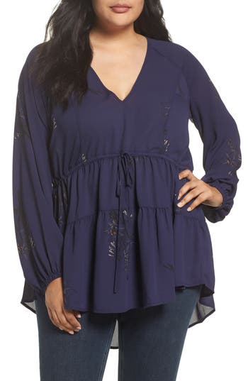 Melissa McCarthy Seven7 Tiered V-Neck Blouse (Plus Size)