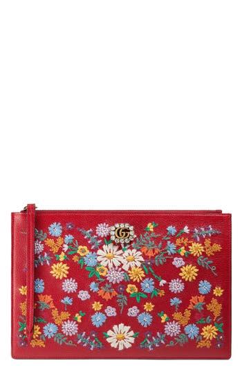 Gucci Ricamo Fiori Embroidered Top Zip Pouch