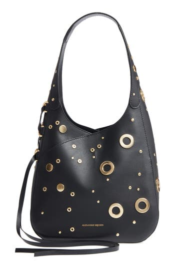 Alexander McQueen Cove Grommet & Stud Embellished Calfskin Leather Hobo