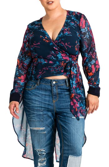 Standards & Practices Haliyah High/Low Wrap Top (Plus Size)
