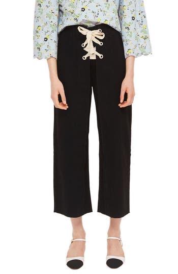 Topshop Lace-Up Wide Leg Crop Jeans