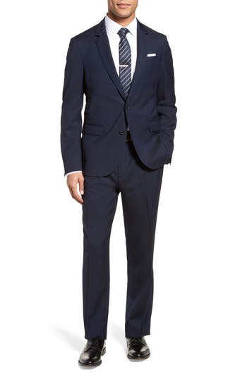 BOSS Nylen Perry Trim Fit Solid Wool Suit