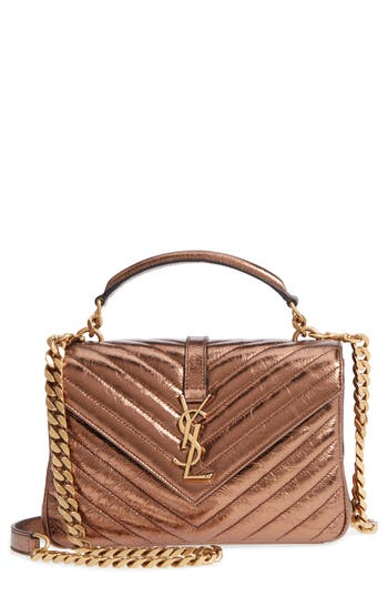 Medium College Metallic Leather Shoulder Bag by Saint Laurent