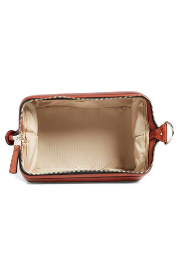 Leather Dopp Kit,                             Alternate thumbnail 2, color,                             Cognac