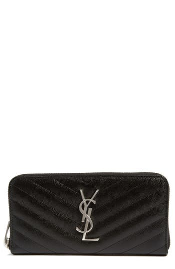 Saint Laurent 'Monogram' Zip Around Quilted Calfskin Leather Wallet