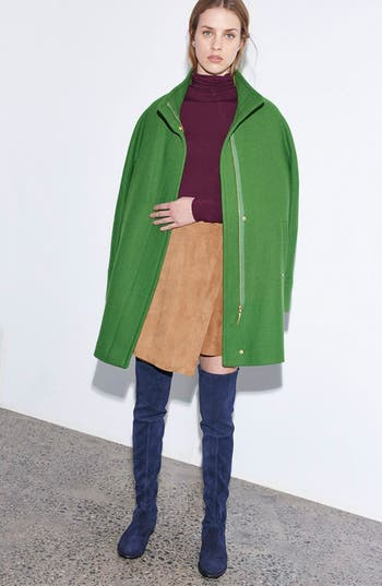 Main Image - Ellen Tracy Coat, Halogen® Turtleneck & Chelsea28 Skirt Outfit with Accessories