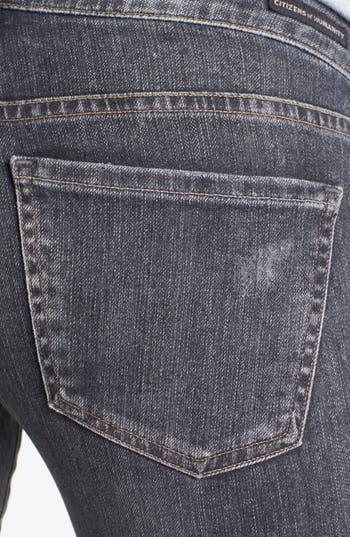 'Racer' Low Rise Skinny Jeans,                             Alternate thumbnail 3, color,                             Black Slash