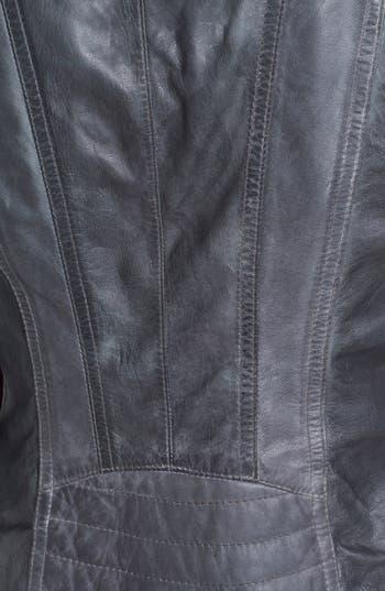 Asymmetrical Leather Moto Jacket,                             Alternate thumbnail 3, color,                             Grey