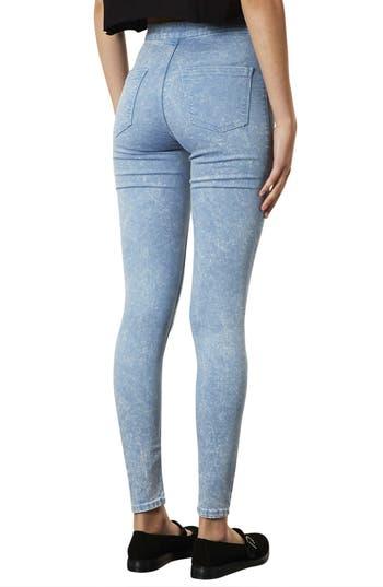 Alternate Image 2  - Topshop 'Joni' Acid Wash High Rise Skinny Jeans (Blue Acid) (Short)