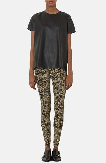 Alternate Image 4  - Topshop Floral Glitter Leggings