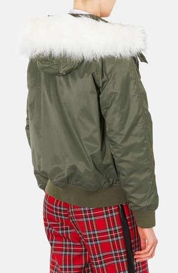 Alternate Image 2  - Topshop Hooded Bomber Jacket with Faux Fur Trim