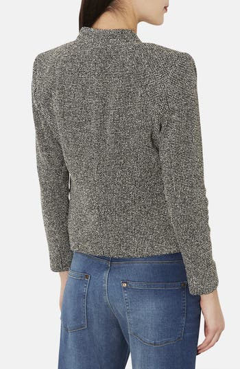 Alternate Image 2  - Topshop 'Bonnie' Collarless Textured Blazer (Petite)