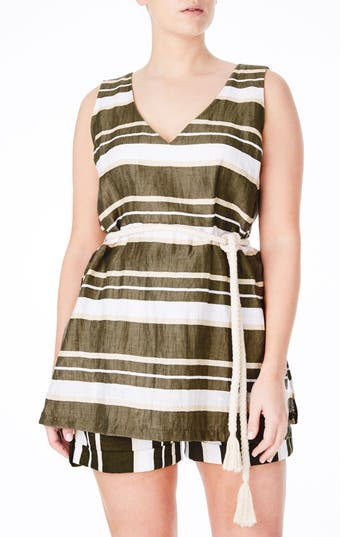 ELVI Belted Stripe Cotton Tunic (Plus Size)