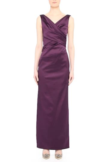 V-Neck Ruched Stretch Satin Column Gown, video thumbnail