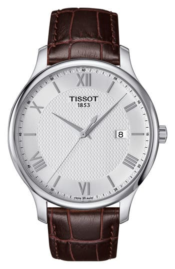 Tradition Leather Strap Watch, 42mm by Tissot