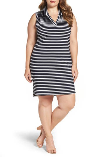 Leota Stripe Stretch Knit Sheath (Plus Size)