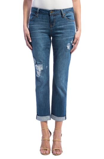 Liverpool Jeans Company Peyton Slim Stretch Crop Boyfriend Jeans (Montauk Mid/Destruction)