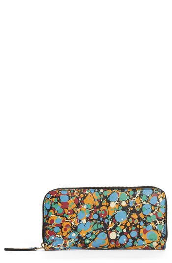 Victoria Beckham Marble Continental Leather Wallet