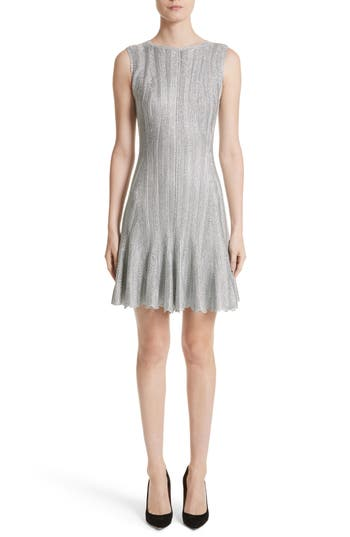 Alexander McQueen Metallic Knit Fit & Flare Dress