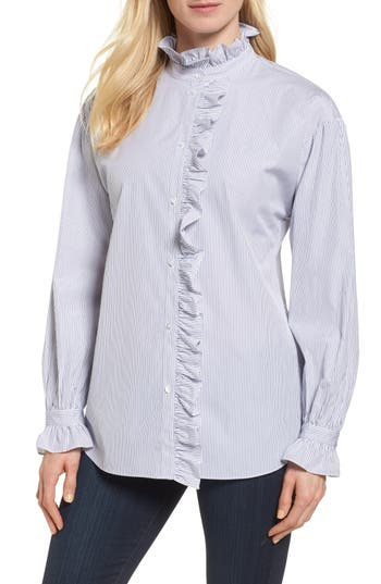 Nordstrom Signature Ruffle Stripe Shirt