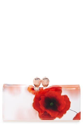 Ted Baker London Playful Poppy Bobble Leather Matin?e Wallet