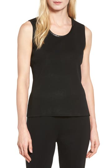 Ming Wang Faux Leather Trim Knit Tank