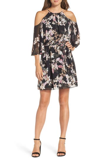 Vince Camuto Print Chiffon Cold Shoulder Dress (Regular & Petite)
