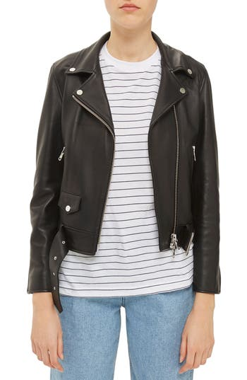 Topshop Boutique Belted Leather Biker Jacket