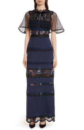 Self-Portrait Bellis Lace Cape Maxi Dress