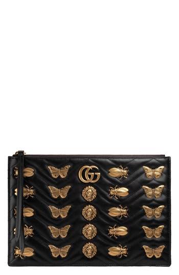 Gucci GG Marmont 2.0 Animal Stud Matelassé Leather Pouch