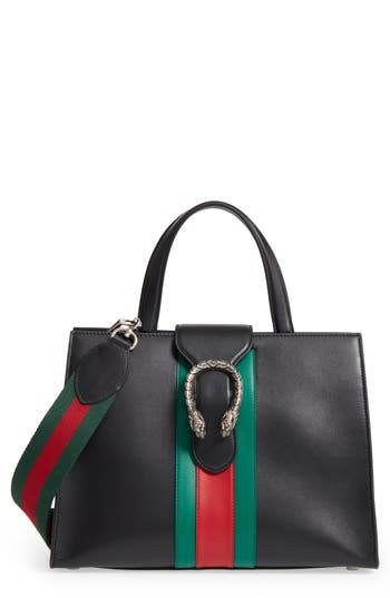 Gucci Dionysus Web Stripe Leather Satchel