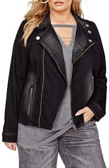 ADDITION ELLE LOVE AND LEGEND Moto Denim Jacket (Plus Size)