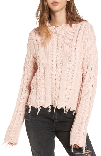 Moon River Frayed Hem Cable Knit Sweater