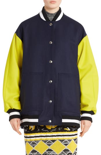 MSGM Eagle Wool Blend Bomber Jacket