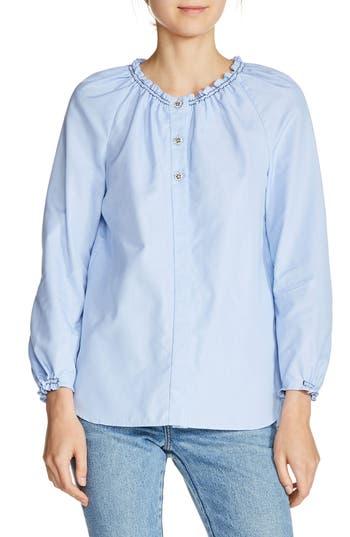 maje Smocked Cotton Shirt