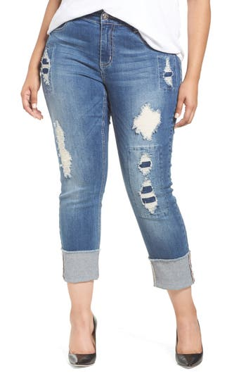 Seven7 Distressed Slim Raw Hem Cuffed Jeans (Concorde) (Plus Size)