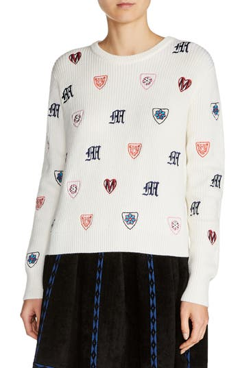 maje Martela Multicolor Embroidered Sweater