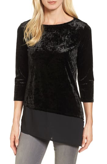 Chaus Woven Hem Crushed Velvet Top