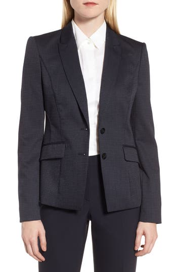 BOSS Jukani Check Wool Blend Suit Jacket (Petite)