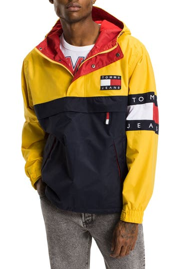 c53df520f Tommy Jeans 90s Capsule Overhead Jacket Color Block In Navyyellow ...