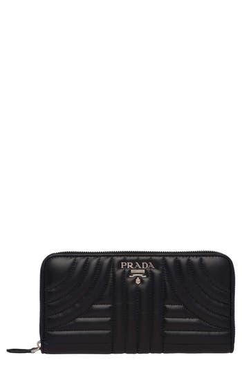 Prada Quilted Calfskin Leather Zip Around Wallet