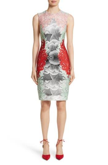 Yigal Azrouël Coral Print Scuba Sheath Dress