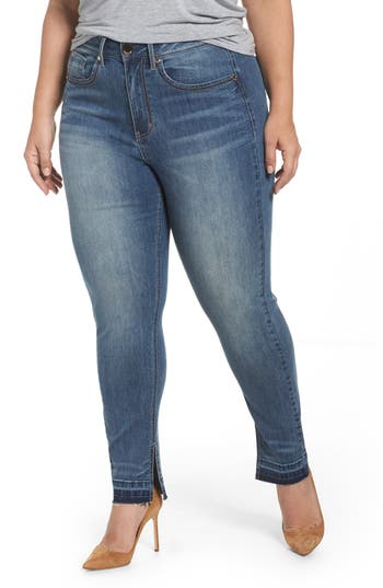 Seven7 Released Hem Skinny Jeans (Plus Size)
