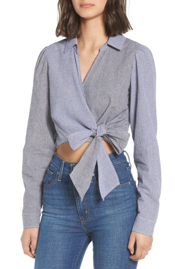 Mixed Gingham Wrap Front Shirt by Love, Fire