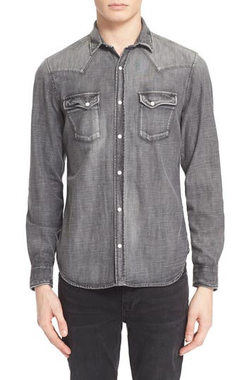 Best price The Kooples Trim Fit Denim Western Shirt