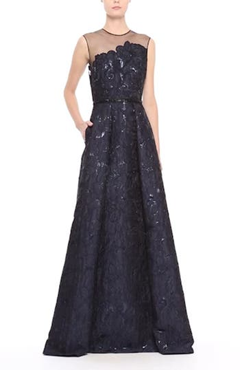Illusion Yoke Embroidered Jacquard A-Line Gown, video thumbnail