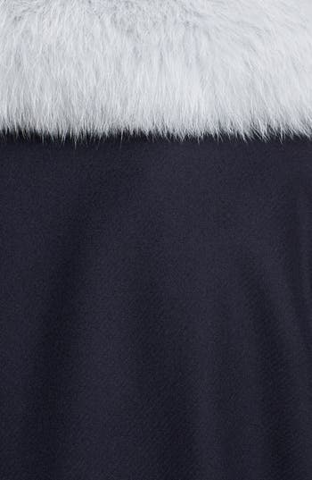 Wool Coat with Genuine Fox Fur Trim,                             Alternate thumbnail 5, color,                             Navy