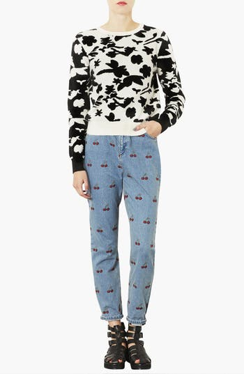 Alternate Image 4  - Topshop Floral Sweater