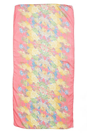 Floral Print Woven Scarf,                             Alternate thumbnail 2, color,                             Fuschia